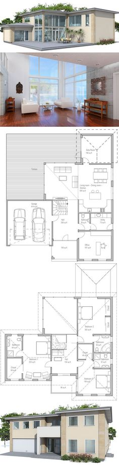 House plan with two master suites: Large modern house plan. Four bedrooms, two living areas, two car garage. Small Floor Plans, House Floor Plans, House Blueprints, Modern House Plans, House Layouts, Architecture Plan, Future House, Building A House, Car Garage
