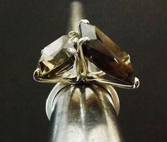 Smokey Quartz Ring Sterling Silver Modern by BonTonJoyaux on Etsy