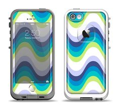 The Fun Colored Vector Sharp Swirly Pattern Apple iPhone 5-5s LifeProof Fre Case Skin Set