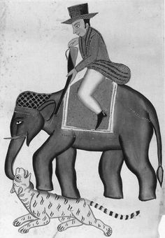 Englishman on an elephant shooting at a tiger Aquarelle, alighat (Inde), vers 1830 Victoria & Albert Museum, Londres