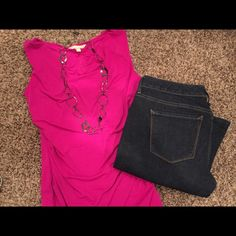 Raspberry/pink top Sleeveless polyester/spandex top.  Great for the office or cute with jeans and a long necklace. Banana Republic Tops