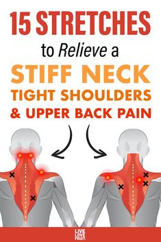 back muscles illustrating common problem areas and trigger point pain referral areas with text - 15 stretches to relieve a stiff neck, tight shoulders, and upper back pain