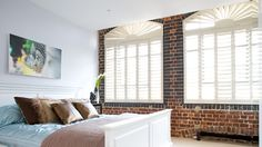 We create bespoke shutters to deal with unusual shaped windows. Shaped Windows, Arched Windows, Wood Shutters, Window Shutters, Master Bedroom Design, Bedroom Designs, Attic Rooms, Luxury Decor, Drapes Curtains
