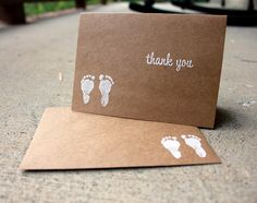 Set of 5Baby Shower Thank You Card Kraft Thank You by SweetSights, $6.99