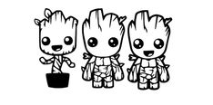 Baby Groot Trio SVG for Craft Machines Cricut Cameo Silhouette