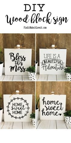 How To Make A Wood Block Sign using a pencil and paint pen.  Free quote printables- four to choose from!