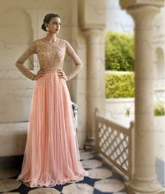 Peach Net Floor Length Anarkali Suit 67961