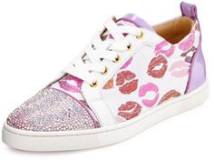 Christian Louboutin Gondolastrass Lip-Print Low-Top Sneaker, White/Pink