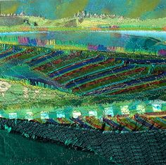 Collaged textile landscape by Sue Wademan (New Zealand)