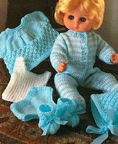 Knitting Patterns Vintage Vintage knitting pattern PDF, Marriner for 16 and 18 dolls. Doll clothes include a sle. Knitting Dolls Clothes, Baby Doll Clothes, Crochet Doll Clothes, Doll Clothes Patterns, Baby Dolls, Babies Clothes, Girl Dolls, Dolls Dolls, Dress Clothes
