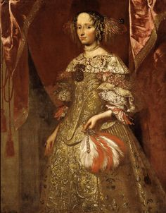 Pittore bergamasco - seconda metà del 600 - Ritratto di gentildonna con ventaglio - 1660-1675 - Accademia Carrara di Bergamo Pinacoteca - percorso Moda
