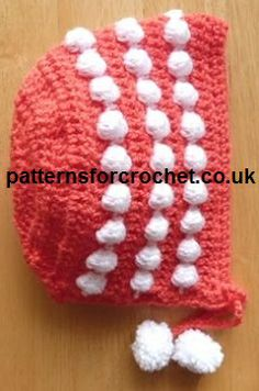 Free crochet pattern for newborn baby bonnet from http://www.patternsforcrochet.co.uk/bonnet-usa.html #crochet #patternsforcrochet #freecrochetpatterns