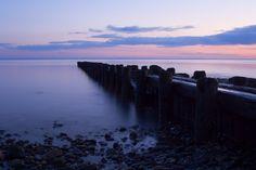 Burying Hill Beach Pier in Westport, Connecticut at Sunset