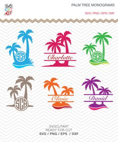 Palm Tree SVG DXF EPS png summer Beach sea waves for Cricut Design, Silhouette studio, Sure Cuts A Lot, Make the Cut, instant Download by SvgCutArt on Etsy