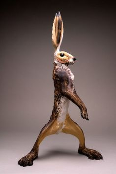 Ceramics, Jeremy James, Artist, Large Hares, large standing hare' stoneware, approximately 50cm high