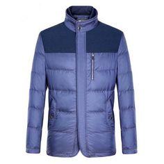Stand Collar Zipper-Up Pockets Design Spliced Padded Jacket