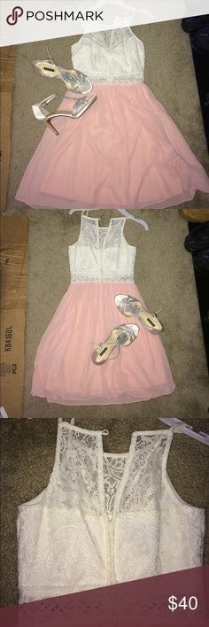White and pink Summer dress (shoes not included) Only used once at my school dance and i never wear it so why have it it's very beautiful and comfortable Dresses