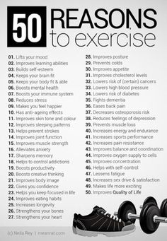 50 reasons to exercise... Can't wait to get back in it!!!