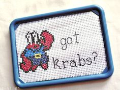 Got Crabs Funny Cross Stitch Fridge Magnet by SnarkyLittleStitcher, $9.00