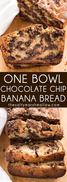 One Bowl Chocolate Chip Banana Bread - The absolute best, super moist banana bread recipe that is easy to make in just one bowl! This banana bread is full of chocolate chips for even more decadence!