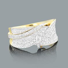 Affordable Designer Jewelry: This Womens Diamond Ring in 14K Gold weighs approximately 5 grams and showcases 1.15 carats of genuine diamonds. Featuring a lovely twist design and a highly polished gold finish, this women's diamond ring makes a unique diamond wedding band and is available in 14K white, yellow and rose gold.