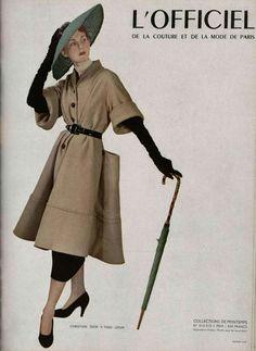 L'Officiel de la Mode n°313-314 de 1948, manteau de Christian Dior, photo Pottier