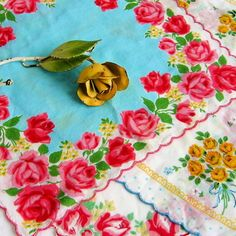 vintage handkerchiefs.  I love the ones Libby framed as a Christmas gift to  go with the hanky quilt I made.