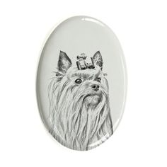 Yorkshire Terrier, oval gravestone from ceramic tile with an image of a dog ** See this great product. (This is an affiliate link) #DogMemorials