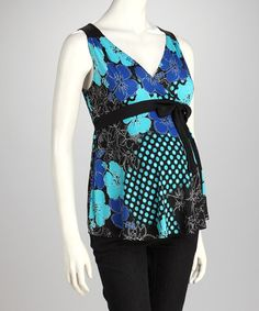 Take a look at this Turquoise Floral Maternity Surplice Tank by QT Maternity on #zulily today!