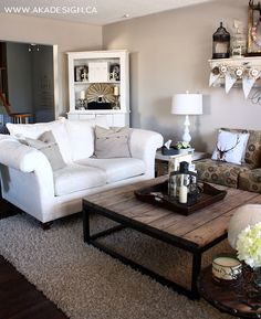love this simple pretty coffee table and clean design for living room - Restoration Hardware Inspired Brickmakers Table