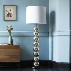 """Abacus Floor Lamp - Mercury #westelm.  $399.  22"""" Diameter x 65.75"""" H.  Mercury glass.  White linen shade. OPTION #1 for Elevated area in BR, DOG."""