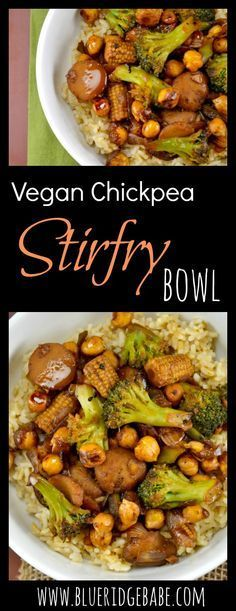 Satisfy your takeout cravings the healthy way with this roasted chickpea vegan stirfry bowl!