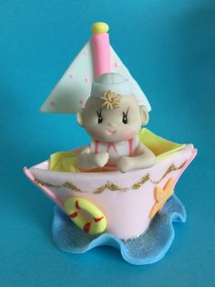 Girls Nautical Baby on a Boat/SMALL Cake by MICHELLCUSTOMDESIGNS