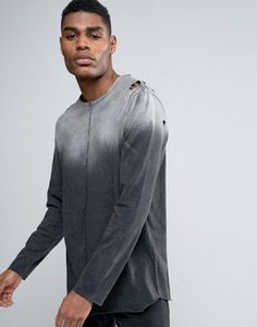 ASOS Longline Long Sleeve T-Shirt In Gradient Acid Wash With Distress And Curved Hem