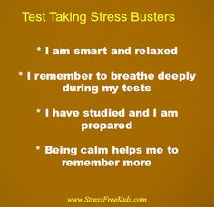 End of year exams have kids stressed out? Introduce children & teens to these positive statements designed to calm test taking nerves.