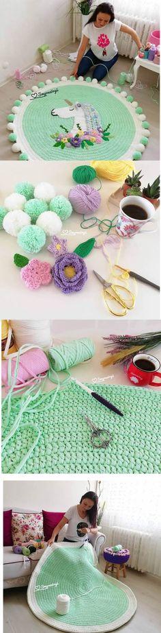 Tapete de malha unicórnio verde. #artesanato #artesanatos #feitoamao #tapetes #unicornio #unicornios #crochê #decor #decoração #quartoinfantil #quartos #quartosdecorados