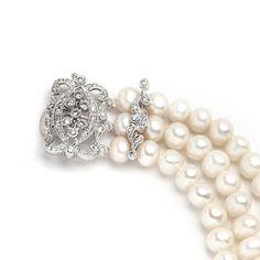 3-Row Freshwater Pearl Bridal Bracelet