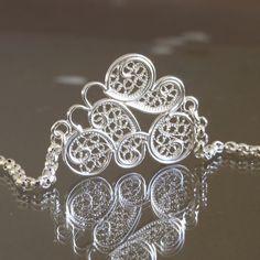 Sterling silver filigree cloud bracelet 1