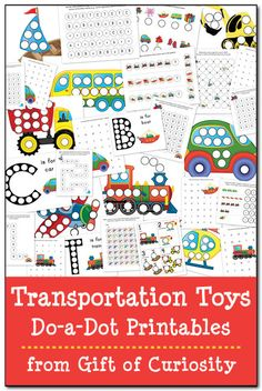 Transportation Toys Do-a-Dot Printables with 29 pages of do-a-dot worksheets featuring cars, trucks, buses, construction vehicles, trains, planes, helicopters, and boats #DoADot #freeprintables || Gift of Curiosity