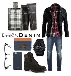 """men's: dark denim swag"" by gracegrimm ❤ liked on Polyvore featuring Nudie Jeans Co., Timberland, G-Shock, Herschel Supply Co., Ace, Burberry, Valextra, men's fashion, menswear and darkdenim"
