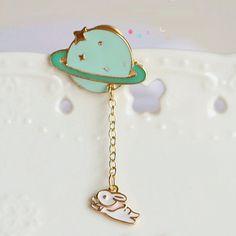 Cute Rabbit flying around the Planet Brooch Collar by LoveMelodi