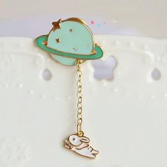 Cute Rabbit flying around the Planet Brooch, Collar Pin, Pin, Patch, Rabbit Brooch, Shirt Accessory