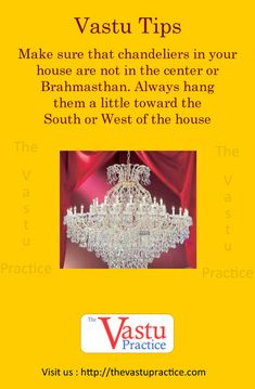 Make sure that chandeliers in your house are not in the center or Brahmasthan. Always hang them a little toward the South or West of the house. Pooja Room Design, Interior Design Living Room, Model House Plan, House Plans, Home Building Design, House Design, Feng Shui And Vastu, Creating Positive Energy, Vastu Shastra