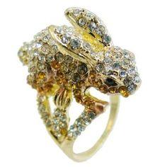 Amazon.com: Ever Faith 18K GP Cute Rabbit Animal Bunny Sz 7 Topaz Austrian Crystal Ring: Jewelry
