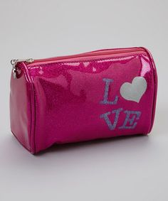 Take a look at this Pink Glitter 'Love' Cosmetic Bag by Capelli New York on #zulily today!