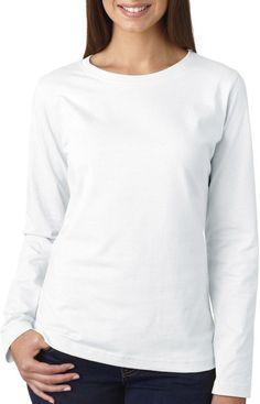 la t ladies' combed ring-spun jersey long-sleeve t-shirt - white (xl)