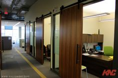 Cft-202-BP Sliding Door Kit is used here in an office building in Calgary, Alberta to save space and give the area an uncluttered, open, up-to-date feel