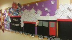 Bulletin Board Idea: The Polar Express Toddler Bulletin Boards, Winter Bulletin Boards, Preschool Bulletin, Merry Little Christmas, Christmas Door, Christmas Time, Xmas, Polar Express Activities, Polar Express Theme