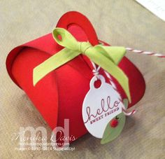 """September 14, 2014 by Stamping Together at Monika's Place: Stampin' Up! Curvy Keepsake Box Thinlit Die  Apple Box with Real Red candy dot """"ladybug"""""""