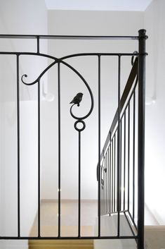 Iron Stair Railing, Wrought Iron Stairs, Balcony Railing, Wood Barn Door, Metal Bending, Backyard Fences, Under Stairs, Interiors, Interior Design